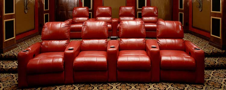 Beautiful Marquee chairs in finished home theater.