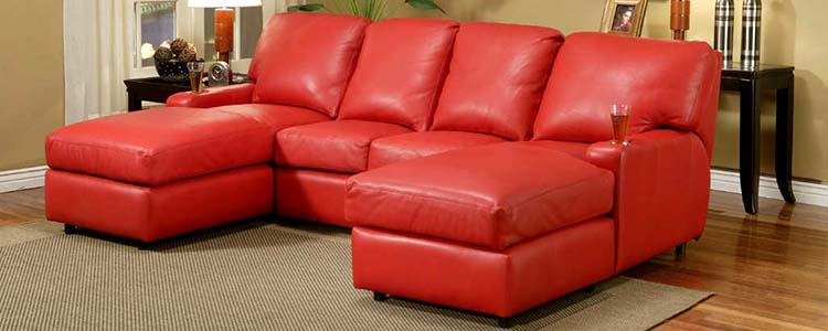 Matinee red leather sectional with ottomans.