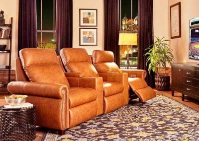 Empire recliner w/Custom arm and Storage Consoles